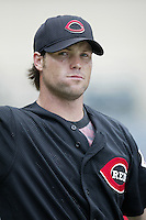 Jason LaRue of the Cincinnati Reds before a 2002 MLB season game against the Los Angeles Angels at Angel Stadium, in Anaheim, California. (Larry Goren/Four Seam Images)