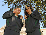 Tulane Women's Swimming and Diving Team have a photoshoot in front of Gibson Hall along St. Charles Avenue.