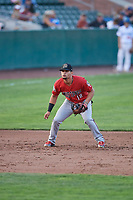 Juan Martinez (18) of the Billings Mustangs during a game against the Ogden Raptors at Lindquist Field on August 18, 2018 in Ogden, Utah. Billings defeated Ogden 6-4. (Stephen Smith/Four Seam Images)