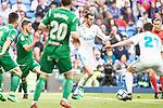 Real Madrid Gareth Bale and Leganes Joseba Zaldua during La Liga match between Real Madrid and Leganes at Santiago Bernabeu Stadium in Madrid, Spain. April 28, 2018. (ALTERPHOTOS/Borja B.Hojas)