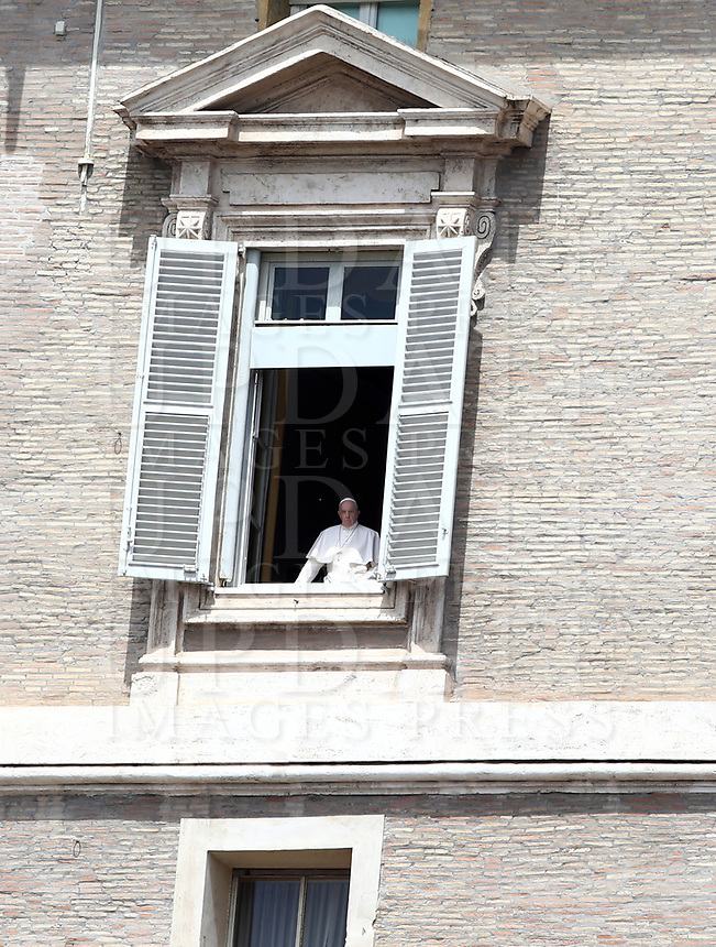 Pope Francis appears from the window of the Apostolic Palace overlooking an empty St Peter' square, closed off to the public due to the novel coronavirus, COVID-19, pandemic, after his live-streamed Angelus prayer on May 10, 2020 at the Vatican. <br /> UPDATE IMAGES PRESS/Isabella Bonotto<br /> <br /> STRICTLY ONLY FOR EDITORIAL USE