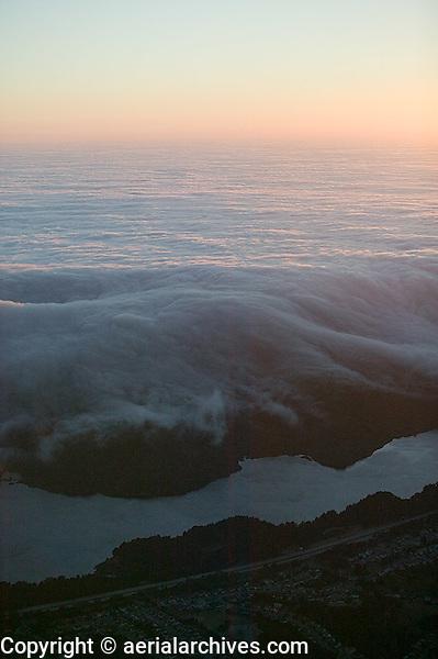 aerial photograph fog Crystal Springs Reservoir, San Mateo County