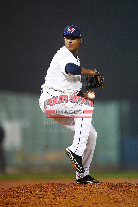 Hudson Valley Renegades pitcher Jose Molina #48 during the NY-Penn League All-Star Game at Eastwood Field on August 14, 2012 in Niles, Ohio.  National League defeated the American League 8-1.  (Mike Janes/Four Seam Images)