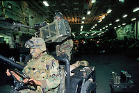 - US Marines waiting for landing in the hold of amphibious assault ship Wasp during operations in Bosnia-Herzegovina....- US Marines in attesa di sbarco nella stiva della nave da assalto anfibio Wasp durante operazioni in Bosnia-Herzegovina
