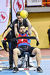 MONTREAL, QC - APRIL 29:  A participant is being strapped to a seat during the 2017 Montreal Paralympian Search at Complexe sportif Claude-Robillard. Photo: Minas Panagiotakis/Canadian Paralympic Committee