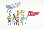 """children carrying a """"caring for kids"""" banner"""