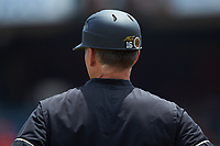 Wake Forest Demon Deacons head coach Tom Walter (16) coaches third base during the game against the Miami Hurricanes in Game Nine of the 2017 ACC Baseball Championship at Louisville Slugger Field on May 26, 2017 in Louisville, Kentucky. The Hurricanes defeated the Demon Deacons 5-2. (Brian Westerholt/Four Seam Images)