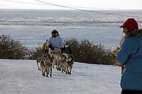 Paul Gebhardt's team comes off the sea ice at Koyuk. Photo by Jon Little.