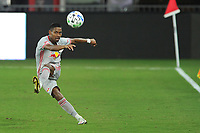 WASHINGTON, DC - SEPTEMBER 12: Jason Pendant #24 of New York Red Bulls passes off the ball during a game between New York Red Bulls and D.C. United at Audi Field on September 12, 2020 in Washington, DC.