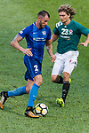 Jaimes McKee of Long Lions (R) in action against SC Kitchee Defender Fernando Recio (L) during the Community Cup match between Kitchee and Eastern Long Lions at Mong Kok Stadium on September 23, 2017 in Hong Kong, China. Photo by Marcio Rodrigo Machado / Power Sport Images