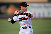 Jupiter Hammerheads third baseman Luis Pintor (3) throws to first base during a game against the Palm Beach Cardinals on August 4, 2018 at Roger Dean Chevrolet Stadium in Jupiter, Florida.  Palm Beach defeated Jupiter 7-6.  (Mike Janes/Four Seam Images)