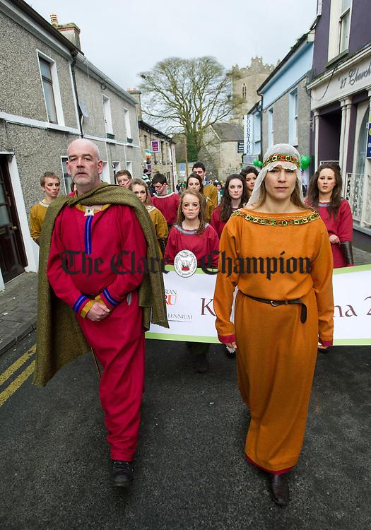 Ger Treacy and Anouk Delimata as Brian Boru and his wife during the St Patrick's Day Parade at Killaloe. Photograph by John Kelly.