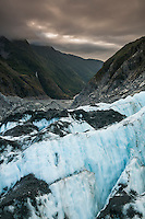 Looking towards Waiho valley from Defiance Icefall of Franz Josef Glacier at sunset, Westland National Park, West Coast, World Heritage, South Island, New Zealand