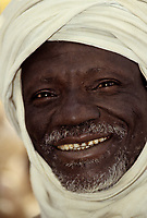 Baleyara, Niger, West Africa.  Nigerien Man, Gray Beard and Moustache, in Traditional Clothes.