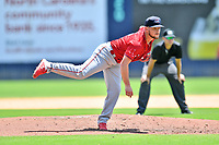 Greenville Drive Chase Shugart (12) delivers a pitch during a game against the Asheville Tourists on July 18, 2021 at McCormick Field in Asheville, NC. (Tony Farlow/Four Seam Images)
