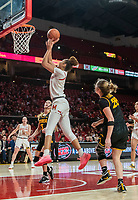 COLLEGE PARK, MD - FEBRUARY 13: Kate Martin #20 of Iowa watches a shot by Shakira Austin #1 of Maryland during a game between Iowa and Maryland at Xfinity Center on February 13, 2020 in College Park, Maryland.