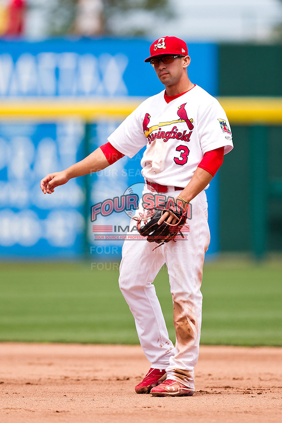 Jose Garcia (3) of the Springfield Cardinals on defense during a game against the Arkansas Travelers at Hammons Field on May 8, 2012 in Springfield, Missouri. (David Welker/ Four Seam Images)