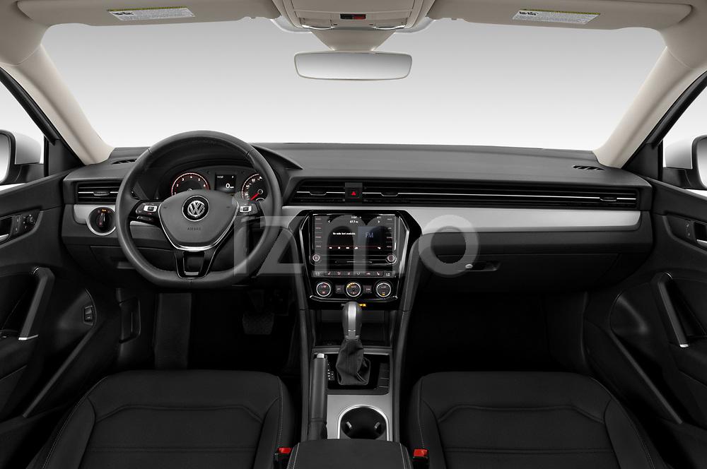 Stock photo of straight dashboard view of 2020 Volkswagen Passat SE 4 Door Sedan Dashboard