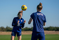 ORLANDO, FL - JANUARY 20: Andi Sullivan #20 of the USWNT heads the ball during a training session at the practice fields on January 20, 2021 in Orlando, Florida.
