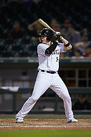 Zack Collins (8) of the Charlotte Knights at bat against the Durham Bulls at BB&T BallPark on July 31, 2019 in Charlotte, North Carolina. The Knights defeated the Bulls 9-6. (Brian Westerholt/Four Seam Images)
