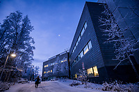 UAA's ConocoPhillips Integrated Science Building in the pre-dawn winter light after a snowfall.