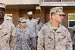 October 22, 2014. Camp LeJeune, North Carolina.<br />  LCpl. Karla Cardenas, 2nd from left, listens to instruction after patrol training for the 3rd Platoon of the Ground Combat Element Integrated Task Force. Marines in 3rd Platoon of the GCEITF are all considered provisional infantrymen as they have not been to the School of Infantry (SOI) previous to volunteering for the GCEITF.<br />  The Ground Combat Element Integrated Task Force is a battalion level unit created in an effort to assess Marines in a series of physical and medical tests to establish baseline standards as the Corps analyze the best way to possibly integrate female Marines into combat arms occupational specialities, such as infantry personnel, for which they were previously not eligible. The unit will be comprised of approx. 650 Marines in total, with about 400 of those being volunteers, both male and female. <br />  Jeremy M. Lange for the Wall Street Journal<br /> COED