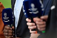 Microphones with Champions league logo are seen during the Uefa Champions League group D football match between FC Internazionale and Real Madrid at San Siro stadium in Milano (Italy), September 15th, 2021. Photo Andrea Staccioli / Insidefoto