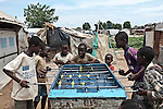 CAR, Bangui: Children from the Mpoko camp are playing babyfoot. 15th April 2016.<br /> RCA, Bangui : Les enfants du camp Mpoko jouent au  babyfoot . 15 avril 2016.