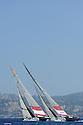 Louis Vuitton Trophy La Maddalena 3 giugno 2010. Mascalzone Latino Audi Team e Synergy Russian Sailing Team durante i quarti di finale conclusi con la vittoria dei russi per 2 a 1