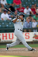 Salt Lake Bees outfielder Drew Heid (4) swings the bat during the Pacific Coast League baseball game against the Round Rock Express on August 10, 2013 at the Dell Diamond in Round Rock, Texas. Round Rock defeated Salt Lake 9-6. (Andrew Woolley/Four Seam Images)