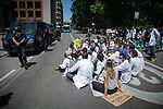 Doctors and Medicine students protest for a new model of MIR in Madrid Spain