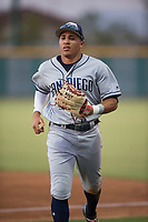 AZL Padres 1 center fielder Jawuan Harris (13) jogs off the field between innings of an Arizona League game against the AZL Cubs 1 at Sloan Park on July 5, 2018 in Mesa, Arizona. The AZL Cubs 1 defeated the AZL Padres 1 3-1. (Zachary Lucy/Four Seam Images)