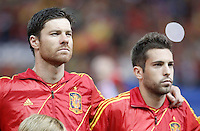 Spain's national team Xabi Alonso  and Jordi Alba during match. October 16, 2012. (ALTERPHOTOS/Alvaro Hernandez) /NORTEPhoto