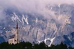 White church against Tirol mountains, Austria