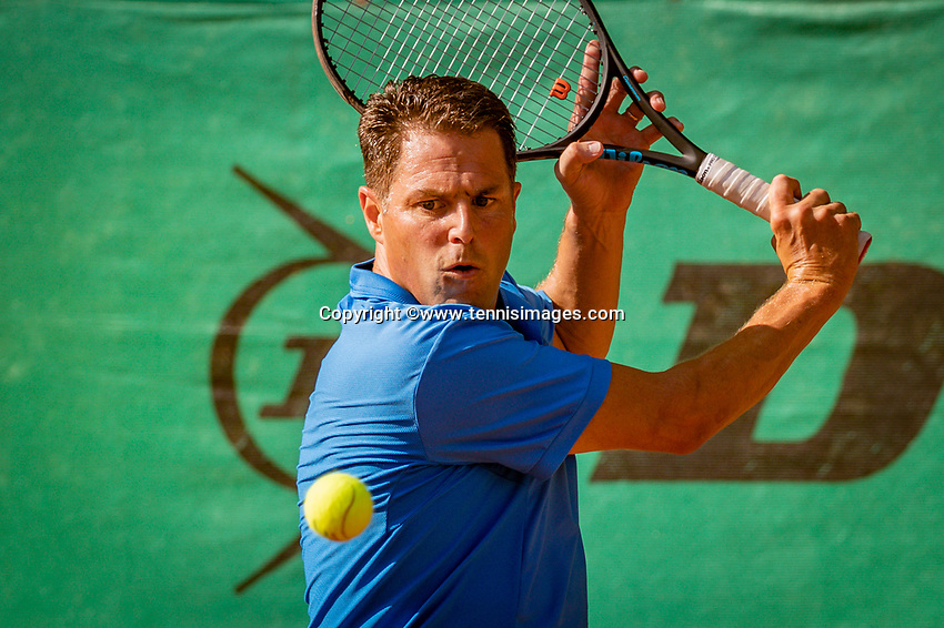 Hilversum, The Netherlands,  August 18, 2020,  Tulip Tennis Center, NKS, National Senior Championships, Men's single 45 + ,   Mick van Meines (NED) <br /> Photo: www.tennisimages.com/Henk Koster