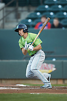 Jodd Carter (7) of the Lynchburg Hillcats follows through on his swing against the Winston-Salem Dash at BB&T Ballpark on May 1, 2018 in Winston-Salem, North Carolina. The Dash defeated the Hillcats 9-0. (Brian Westerholt/Four Seam Images)