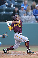 Drew Stankiewicz #17 of the Arizona State Sun Devils bats against the UCLA Bruins at Jackie Robinson Stadium on March 28, 2014 in Los Angeles, California. UCLA defeated Arizona State 7-3. (Larry Goren/Four Seam Images)
