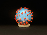Pictured: 3D print of a SARS-CoV-2—also known as 2019-nCoV, the virus that causes COVID-19—virus particle. The virus surface (blue) is covered with spike proteins (red) that enable the virus to enter and infect human cells.<br /> Re: Coronavirus Covid-19 world pandemic