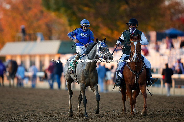 November 6, 2020: Essential Quality, ridden by Luis Saez, wins the TVG Juvenile Presented By Thoroughbred Aftercare Alliance on Breeders' Cup Championship Friday at Keeneland on November 6, 2020: in Lexington, Kentucky. Carolyn Simancik/Breeders' Cup/Eclipse Sportswire/CSM