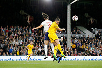 Millie Bright of England Women and Chloe Logarzo of Australia Women contest a header during the Women's international friendly match between England Women and Australia at Craven Cottage, London, England on 9 October 2018. Photo by Carlton Myrie / PRiME Media Images.