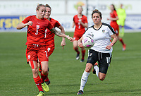 20180302 - LARNACA , CYPRUS : Austrian Laura Feiersinger pictured with Czech Nikola Sedlackova (left) during a women's soccer game between Austria and Czech Republic , on friday 2 March 2018 at the AEK Arena in Larnaca , Cyprus . This is the second game in group B for Austria and Czech Republic during the Cyprus Womens Cup , a prestigious women soccer tournament as a preparation on the World Cup 2019 qualification duels. PHOTO SPORTPIX.BE | DAVID CATRY