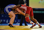 Wales Sarah Connally in action against B Epanga Metala<br /> <br /> Photographer Ian Cook/Sportingwales<br /> <br /> 20th Commonwealth Games - Wrestling -  Day 8 - Thursday 31st July 2014 - Glasgow - UK