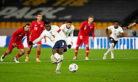 13th October 2020; Molineux Stadium, Wolverhampton, West Midlands, England; UEFA Under 21 European Championship Qualifiers, Group Three, England Under 21 versus Turkey Under 21; Eddie Nketiah of England takes a penalty but it hits the post and is saved in the last minutes of the match
