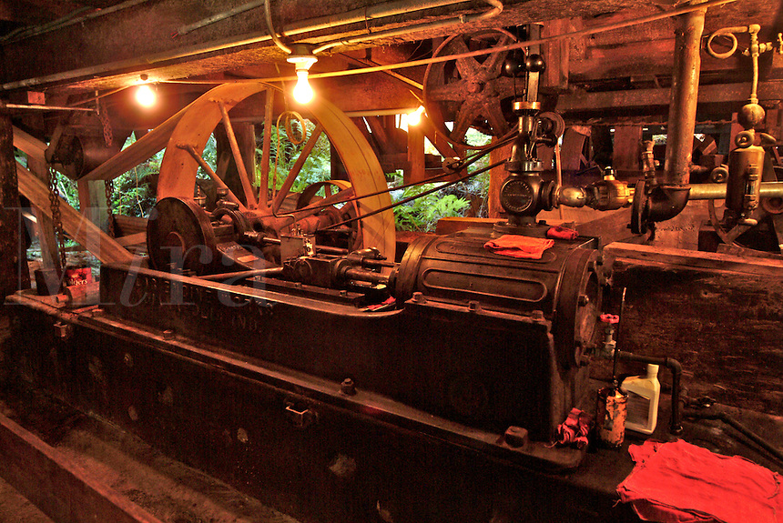 Steam engine power plant at an antique saw mill in Occidental California