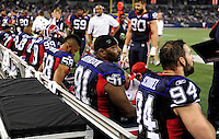 3 December 2009: Members of the Buffalo Bills defensive squad sit on the bench during a game against the New York Jets at the Rogers Centre in Toronto, Ontario, Canada. The Jets defeated the Bills 19-13. Mandatory Credit: Ed Wolfstein Photo