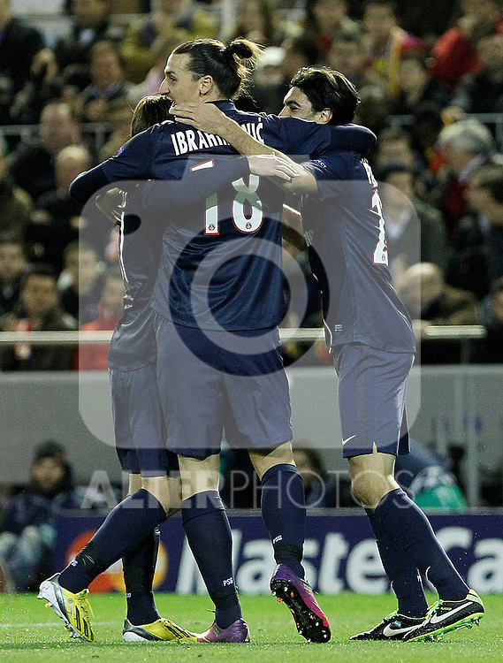 Paris Saint-Germain's Maxwell (l), Zlatan Ibrahimovic (c) and Javier Pastore celebrate goal during Champions League 2012/2013 match.February 12,2013. (ALTERPHOTOS/Acero)
