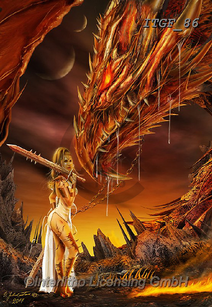 Gaetano, MODERN, MODERNO, paintings+++++The Dragon Slayer,ITGF86,#n#, EVERYDAY ,fantasy,puzzles,gothic,pin-up,pin-ups