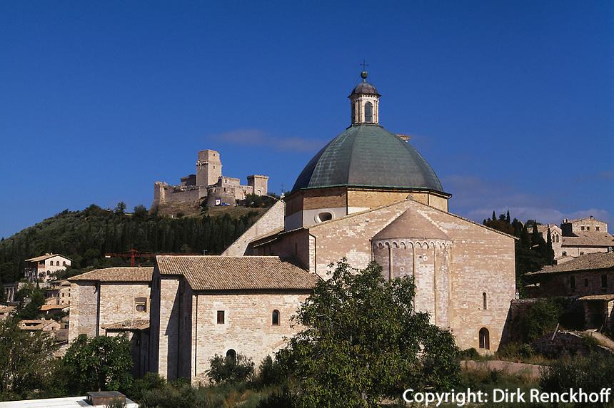 Burg Rocca Maggiore und Dom San Rufino in Assisi, Umbrien, Italien