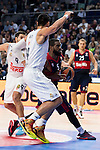 Real Madrid´s player Gustavo Ayon and Bayern Munich´s player KC Rivers during the 4th match of the Turkish Airlines Euroleague at Barclaycard Center in Madrid, Spain, November 05, 2015. <br /> (ALTERPHOTOS/BorjaB.Hojas)