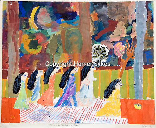 """Painting 'Shrine on the Threshold of a Garden' by Homer Sykes age 10 yrs The Downs School Colwall. Art master James Lynch. Painting called """"Shrine on the Threshold of a Garden """""""